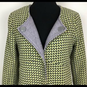 Anthropologie checkered military tail pea coat Med